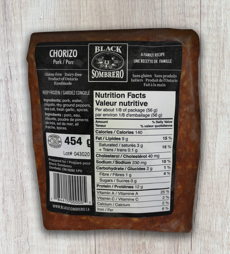 Frozen Chorizo is only available in store